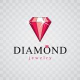 Vector precious decorative element, polygonal. Luxury diamond si. Gn emblem, logotype. Brilliant jewelry illustration Stock Images