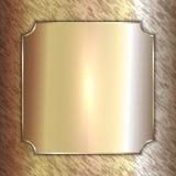 Vector precious metal golden plate on patina Royalty Free Stock Photos