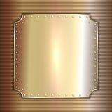 Vector precious metal golden plate with rivets Stock Photos