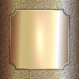 Vector precious metal golden plate on stone Stock Images
