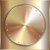 Vector precious metal round golden plate with Stock Photos
