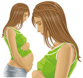 Vector Pregnant Female With Belly Stock Photography