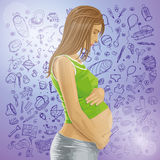 Vector Pregnant Female With Belly Royalty Free Stock Photo