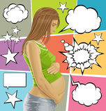 Vector Pregnant Female With Belly And Bubble Speech. Vector pregnant female with tummy, waiting for new life, with speech and thought bubbles Royalty Free Stock Image