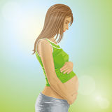 Vector Pregnant Female With Belly Stock Image