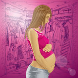 Vector Pregnant Female With Belly Royalty Free Stock Images