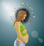 Vector Pregnant Female With Belly. Vector pregnant female with tummy, waiting for new life Royalty Free Stock Photography