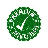 Premium Arabica Beans Scratched Stamp with Tick stock illustration