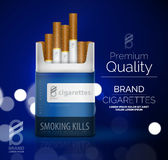Vector premium cigarettes pack ad template Royalty Free Stock Photos