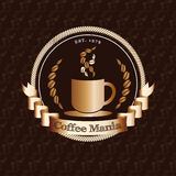 Vector : Premium coffee shop logo with gold badge on coffee bean Royalty Free Stock Images
