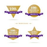 Vector : 100 % Premium Quality badge logo with gold and dark pur. Ple color, Luxury banner product stock illustration