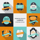 Vector Premium Quality Label Set in Flat Modern Design with Long Royalty Free Stock Photography