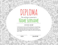 Vector Preschool Elementary Kids Diploma certificate background. Design template. School diploma vector illustration