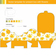 Vector present box with yellow flowers Royalty Free Stock Photography