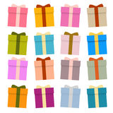 Vector Present Boxes, Gift Boxes Set. Isolated on White Background Stock Images