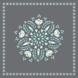 Vector pretty blue and grey floral folk design, ideal for for embroidery, or card. Vector illustration stock illustration