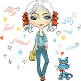 Vector Pretty fashion girl with kitten. Pretty fashion girl with bows, bag and with cute kitten royalty free illustration