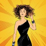 Vector pretty jazz style woman in a black dress with curly hair, comics style fashion illustration. Pretty jazz style woman in a black dress with curly hair vector illustration