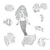 Vector hand drawn mermaid and fish isolated on the white. Vector pretty little siren mermaid with sea fishes cartoon style, hand drawn silhouette isolated on the Royalty Free Stock Photos