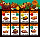 Vector price menu for Malaysian cuisine lunch. Malaysian cuisine restaurant menu price cards with lunch discount offer. Vector design for Malay traditional stock illustration