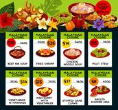 Vector price menu for Malaysian cuisine. Malaysian cuisine restaurant menu price cards with lunch discount offer. Vector design for Malay traditional beef rib stock illustration
