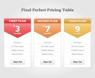 Vector Price table for commercial web services. Vector Price table vector illustrations Stock Images