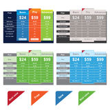 Vector Price Table Templates Royalty Free Stock Images
