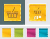 Vector price tag ribbon. Detailed waved price tag ribbon in four colors Stock Image