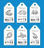 Vector price tag set with seafood. Vector price tag set with hand drawn seafood elements for restaurant illustration Stock Photo