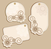 Vector Price Tags beige with floral patterns Stock Photography