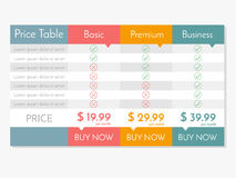 Free Vector Pricing Table For Websites And Applications. Royalty Free Stock Photography - 75337047