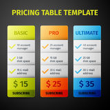 Vector pricing table template Stock Image