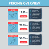 Vector pricing table for website. Royalty Free Stock Photos
