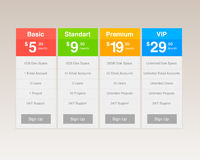 Vector Pricing Tables Stock Photos