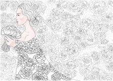 Vector princess bride on a background of flowers decorative pattern Stock Photos