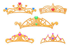Vector princess crowns, tiaras with gems cartoon set. Luxury royal crown with precious stone, illustration of fashion golden crowns Royalty Free Stock Photography