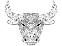 Vector principal del colorante del toro para los adultos Foto de archivo libre de regalías