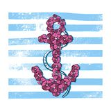 Vector Print Anchor with Flowers Stock Images