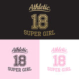 Vector print athletic super girl for typography Stock Photo