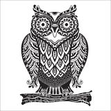 Vector Print beautiful decorative owl with a lot royalty free illustration