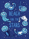 Vector print with cats in space. Reach for the stars Royalty Free Stock Image