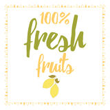 Vector print with fresh cute abstract lemon and lettering. Typographic printable banner for summer design. Vector print with fresh cute abstract lemon and Stock Photos