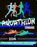 Vector print illustration aquathlon - standard distance. Royalty Free Stock Photos