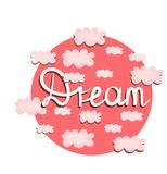 Vector print, illustration with pink clouds. Dream concept. royalty free illustration