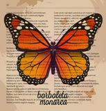 Vector print orange Butterfly borboleta monarca. Printable art drawing on old dictionary page. Royalty Free Stock Photography