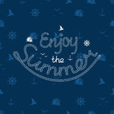 Vector print with a sea subject about summer for typography Royalty Free Stock Images