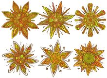 Vector print of six ornamental suns with a lot of Royalty Free Stock Photos