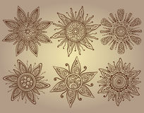 Vector print of six ornamental suns with a lot of details Royalty Free Stock Photo