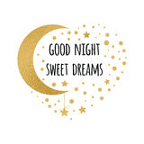 Vector print with text Good night, sweet dreams. Wishing card witing card with moon and stars in gold colors on white Royalty Free Stock Photo