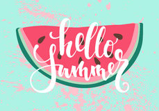 Vector print with watermelon. The inscription, lettering Hello summer . Stock Photos